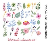 set of hand drawn watercolor... | Shutterstock .eps vector #293797961