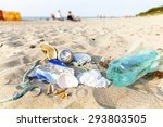 garbage on a beach left by... | Shutterstock . vector #293803505