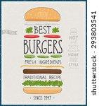 best burgers poster   hand...   Shutterstock .eps vector #293803541