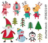 set of christmas objects over... | Shutterstock . vector #293823149