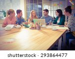 group of young colleagues using ... | Shutterstock . vector #293864477