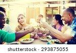 diverse people friends hanging... | Shutterstock . vector #293875055