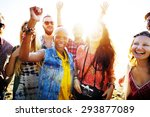 teenagers friends beach party... | Shutterstock . vector #293877089