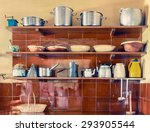 vintage kitchen utensils on... | Shutterstock . vector #293905544