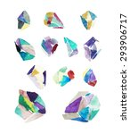 watercolor crystals. geometric... | Shutterstock .eps vector #293906717