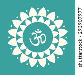 vector lotus mandala with om... | Shutterstock .eps vector #293907977