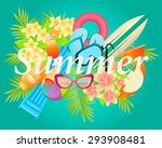 summer tropical vacation. beach ... | Shutterstock .eps vector #293908481