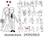 set of wedding pictures  bride... | Shutterstock .eps vector #293925815
