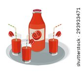 bottle and glasses with tomato... | Shutterstock .eps vector #293933471
