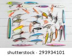 Colorful Fishing Lures On Wood...