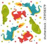 Seamless Cute Dragons Pattern