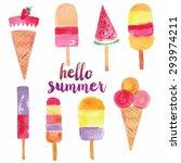 hello summer print design   Shutterstock .eps vector #293974211