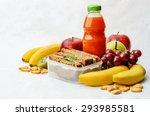 school lunch with a sandwich ... | Shutterstock . vector #293985581