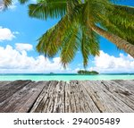 beautiful beach with palm tree... | Shutterstock . vector #294005489