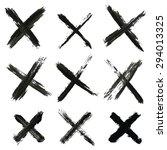 set of grungy crosses   Shutterstock .eps vector #294013325