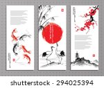 vertical banners with storks ... | Shutterstock .eps vector #294025394