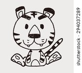 chinese zodiac tiger doodle... | Shutterstock . vector #294037289