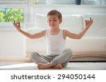 Happy Little  Boy Exercising...