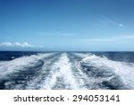 trail on water surface behind... | Shutterstock . vector #294053141