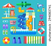 set the water park visitor.... | Shutterstock .eps vector #294083741