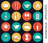 kitchen flat icons set with... | Shutterstock .eps vector #294112451