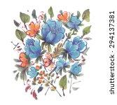 blue and orange watercolor... | Shutterstock .eps vector #294137381