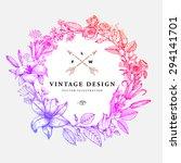 vintage floral card. frame with ... | Shutterstock .eps vector #294141701