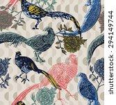Vintage Background With Birds...