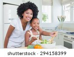 mother and daughter making a... | Shutterstock . vector #294158399