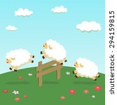 counting sheep in field... | Shutterstock .eps vector #294159815