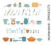 a set of kitchen utensils on a... | Shutterstock . vector #294161171