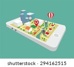 map a small town on the mobile... | Shutterstock .eps vector #294162515