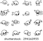 various cute face icons | Shutterstock .eps vector #294163955