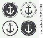 Set Of Anchors In Vintage Styl...