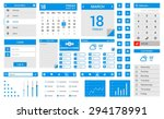 blue flat ui kit   flat design...