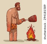 caveman cooking meat on fire ... | Shutterstock .eps vector #294181589