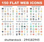 vector set of 150 flat web... | Shutterstock .eps vector #294182945