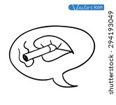 sexy lips with cigarette ... | Shutterstock .eps vector #294193049