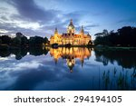 Stock photo hannover cityscape with new town hall at night 294194105