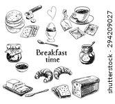 vector breakfast hand drawn set.... | Shutterstock .eps vector #294209027