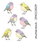 hand drawn cute birds. fills... | Shutterstock .eps vector #294213029