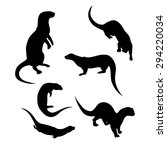 vector silhouettes of a otter. | Shutterstock .eps vector #294220034