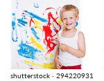 little kid painting with... | Shutterstock . vector #294220931