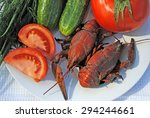boiled red crayfish  tomato ...