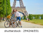 romantic couple riding bicycles ... | Shutterstock . vector #294246551