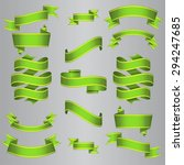 green ribbons set. vector... | Shutterstock .eps vector #294247685