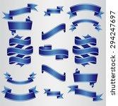 dark blue ribbons set. vector... | Shutterstock .eps vector #294247697