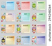 calendar 2015 with owls. vector ... | Shutterstock .eps vector #294248264