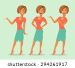 set of cute cartoon girls in... | Shutterstock .eps vector #294261917