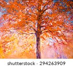 Oil Painting On Canvas Red Tre...